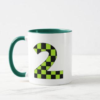 Green Checkered Number Two Mug