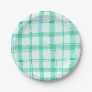 Green checkered Paper Plates 7x7 Inch