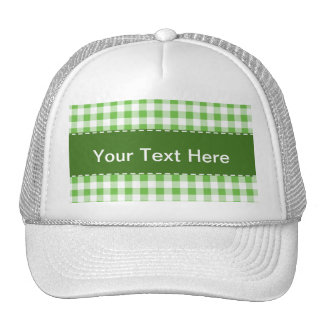 Green Checkered Pattern Trucker Hat