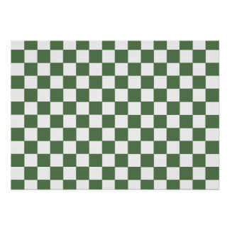 Green Checkered Pattern Poster