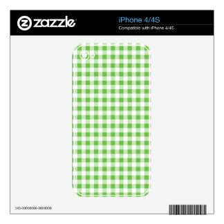 Green Checkered Pattern Skin For iPhone 4S