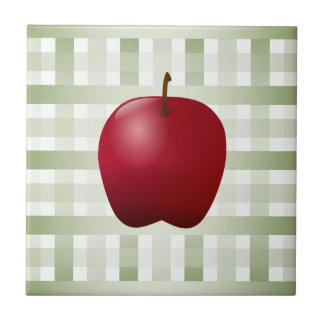 Green Checkered with Apple Silhouette Tile