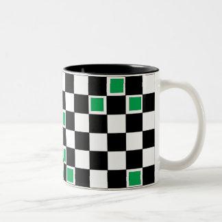 Green Checkers 2 Two-Tone Coffee Mug