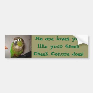 Green Cheek Conure Love Bumper Sticker
