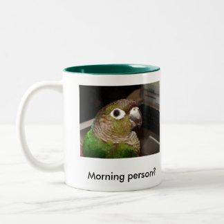 Green Cheek Conure Morning Person Two-Tone Coffee Mug