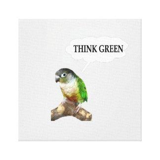 """Green Cheek Conure """"Think Green."""" Canvas Print"""