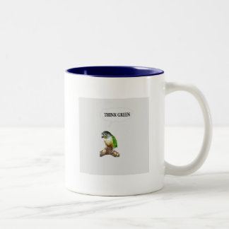 Green Cheek Conure Think Green Two-Tone Coffee Mug