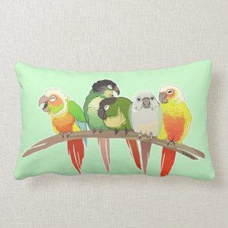 Green Cheek Conures Lumbar Pillow