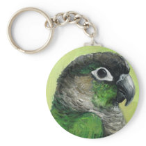 """Green Cheeked Conure"" Bird Art Keychain"