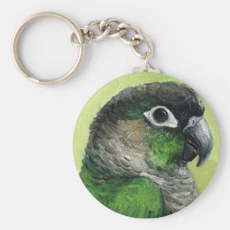 """Green Cheeked Conure"" Bird Art Keychain"