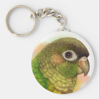 Green-cheeked conure realistic painting basic round button keychain