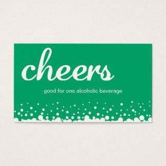 Green cheer bubble wedding custom bar drink ticket