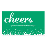 Green cheer bubble wedding custom bar drink ticket business cards