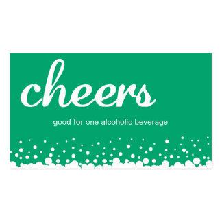 Green cheer bubble wedding custom bar drink ticket business cards