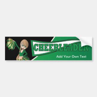 Green Cheerleader Bumper Sticker