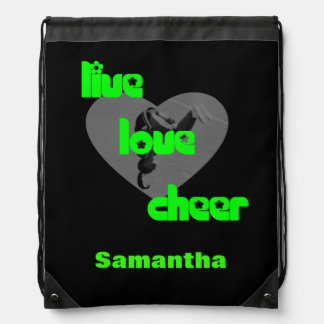 Green Cheerleader cinch sack backpack