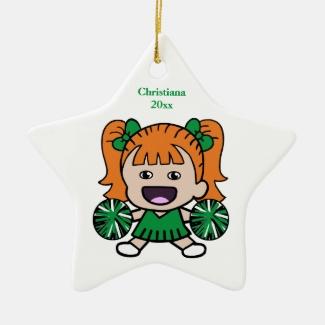 Green Cheerleader Custom Ornament