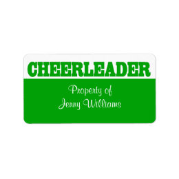 Green Cheerleader Name Stickers
