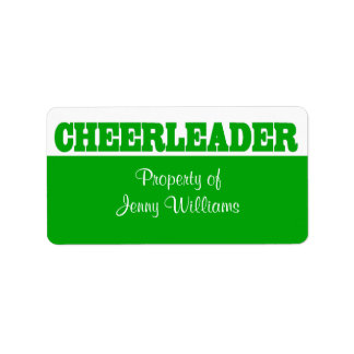 Green Cheerleader Name Stickers Address Label