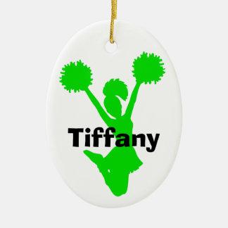 Green Cheerleader Ornament