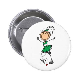 Green Cheerleader Pinback Button