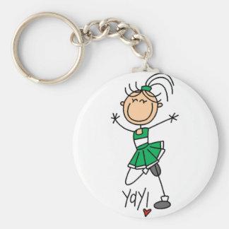 Green Cheerleader Tshirts and Gifts Basic Round Button Keychain