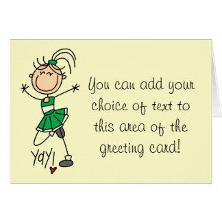 Green Cheerleader Tshirts and Gifts Greeting Card