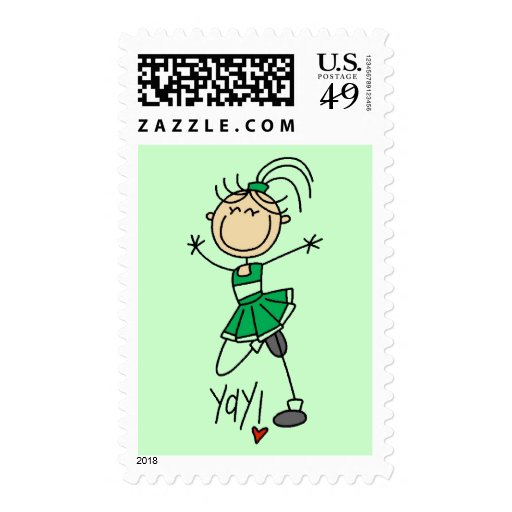 Green Cheerleader Tshirts and Gifts Stamp