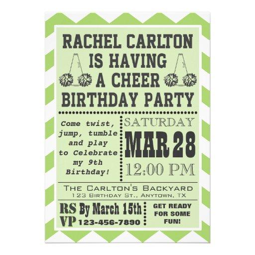 Personalized Cheerleader birthday Invitations – Cheerleading Birthday Party Invitations