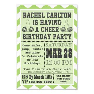 Green Cheerleading Birthday Party Invitation