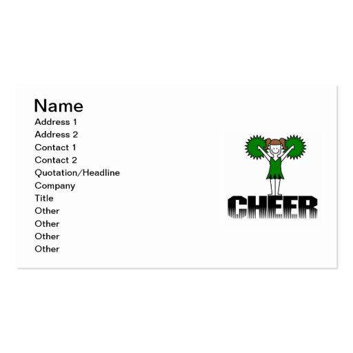 Green Cheerleading T-shirts and Gifts Business Card Templates