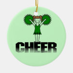 Green Cheerleading T-shirts and Gifts Ornament