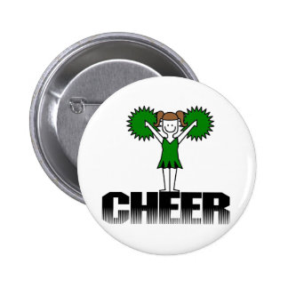 Green Cheerleading T-shirts and Gifts Pinback Button