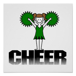 Green Cheerleading T-shirts and Gifts Poster