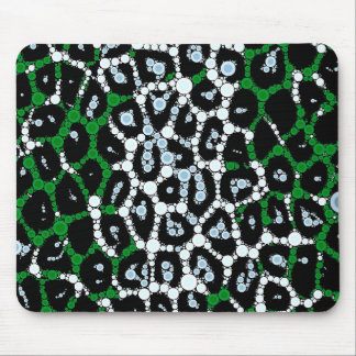 Green Cheetah Circle Abstract Mouse Pad