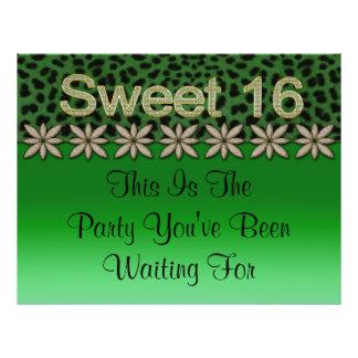 """Green Cheetah & Glitter Flowers 8.5"""" X 11"""" Flyer"""
