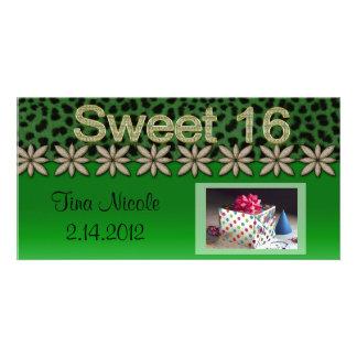 Green Cheetah & Glitter Flowers Photo Card