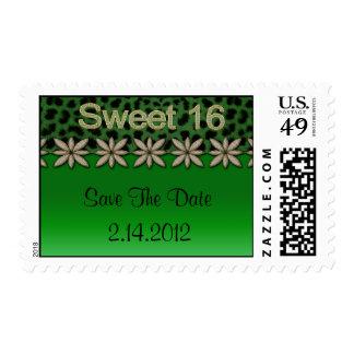 Green Cheetah & Glitter Flowers Stamp