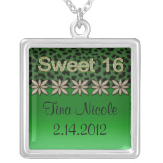 Green Cheetah & Glitter Flowers Silver Plated Necklace
