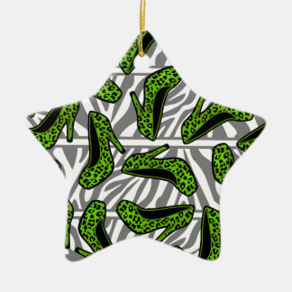 Green Cheetah High Heel Shoe Print on Zebra Double-Sided Star Ceramic Christmas Ornament