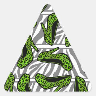 Green Cheetah High Heel Shoe Print on Zebra Triangle Sticker