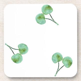 Green Cherry Pattern Drink Coaster