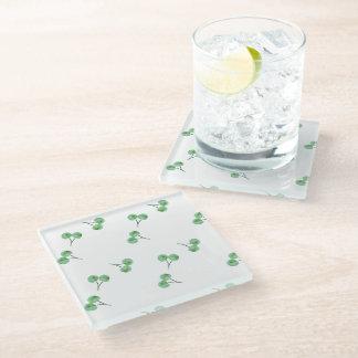Green Cherry Pattern Glass Coaster