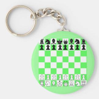 Green Chess Board Game Basic Round Button Keychain
