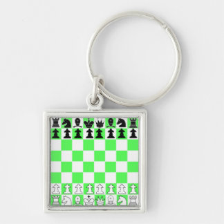 Green Chess Board Game Silver-Colored Square Keychain