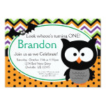 Green Chevron and Polka Dots Owl Halloween Invite