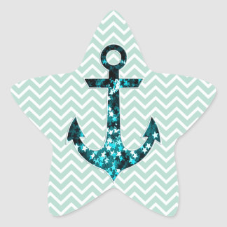 Green Chevron and Sparkly Stars Anchor Stickers
