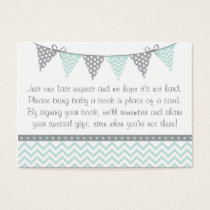 Green Chevron Baby Shower Book Request Cards