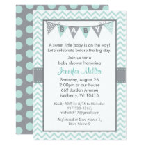 Green Chevron Baby Shower Card