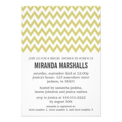 Green Chevron Bridal Shower Invitations